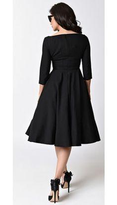 9b449639b090 Glamour Bunny 1950s Black Quarter Sleeve Serena Stretch Swing Dress Unique  Dresses