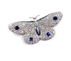- Begin 20e eeuw diamant en saffier vlinder broche, c.1910