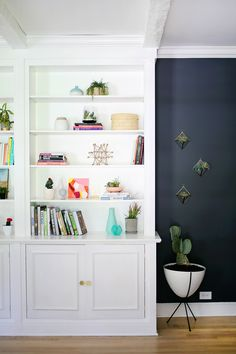 Painted white book shelves
