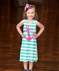 Look at this #zulilyfind! Aqua & White Anchor Stripe Dress - Infant, Toddler & Girls by Beary Basics #zulilyfinds