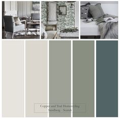 """Inspired by this beautiful wallpaper - """"Raphael"""" - by Sandberg, I've created a Farrow and Ball palette of blue, greens and neutrals. These muted tones and easy neutrals form the basis of this Scandi look. House Color Palettes, Paint Color Palettes, Paint Color Schemes, House Color Schemes, Bedroom Color Schemes, Bedroom Colors, House Colors, Farrow Ball, Farrow And Ball Paint"""