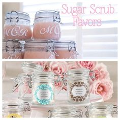 Here's a great DIY favor idea! Make your own sugar scrub and gift it in a cute Mason Jar! Our jars come personalized so it gives your favor and extra oomph! #getcreative #crafty #diy #diyweddingfavor #wedding #bridalshower #partyfavor #personalized #sugar #beatyscrub