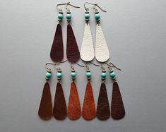 Teardrop Leather Earrings. Turquoise Earrings. Bohemian Dangle Earrings. Long Leather Earrings. Boho Earrings. Bohemian Gemstone Jewelry.