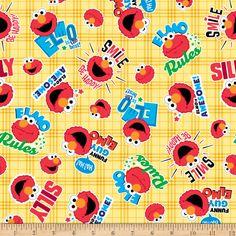 EXCLUSIVE Stretch Knit Sesame Street Happy Elmo Yellow - Fabric.com