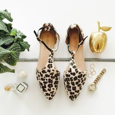All Sizes Available | Leopard Print Faux Calf Hair Ankle T-Strap Flats