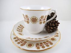 English Bone China Tea Set Trio, Teacup, Saucer and Tea Plate. Queen Anne Bone China Set in Gold and Burgundy.