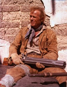 """Richard Widmark as Jim Bowie in 1960 film epic """"The Alamo,"""" produced, directed by and starring John Wayne as Davy Crockett.  The movie was filmed largely in Bracketville (on a specially-built set that became Happy Shahan's Alamo Village) and premiered at the Woodlawn Theater in San Antonio."""