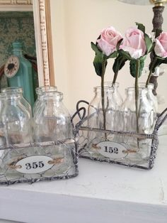 Rustic Chicken Wire Basket 4 Glass Bottles Vintage Enameled Locker Tag Display   eBay
