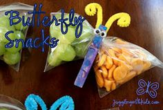 Butterfly snacks - This could tie in with a Spring Unit in preschoolers class. Such a neat idea to bring it all home. Kids could paint clothes pins and fill bags with snacks. So cool!