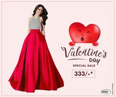Get Valentine's Day ready without spending thousands of bucks. Check Valentine's Day offers now. Valentine Day Offers, Valentine Day Special, Valentines, Sale Of The Day, Trendy Collection, Silk Fabric, Aurora Sleeping Beauty, Classy, Gowns
