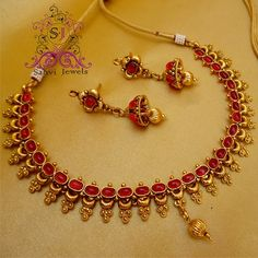 Antique style imitation ruby necklace and ear rings by Sanvi Jewelles