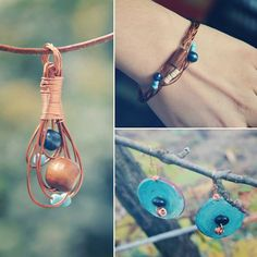 Blue and copper jewelry set bohemian necklace by DotsAndLines89