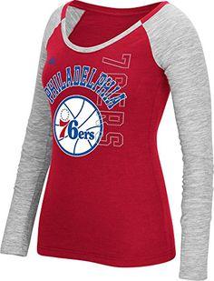NBA Philadelphia 76ers Womens Team Liquid Dots Long Sleeve Slub Tee Medium  Red   Click on ec70f2255