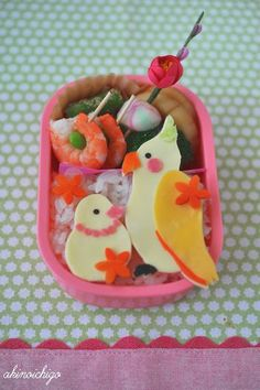 Parrot and canary bento