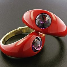 Pair of amethyst, gold and red laquer bangles.   #jamesdegivenchy