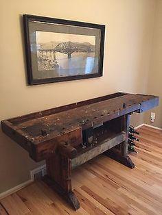 Antique Carpenter Workbench Industrial Wood Carpenter Table Server Bar VTG Old Woodworking Videos, Custom Woodworking, Woodworking Bench, Woodworking Projects Plans, Workbench Table, Industrial Workbench, Workbench Ideas, Workbench Designs, Carpenter Work