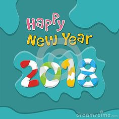 Photo About Happy New Year 2018 Text With Cartoon Style   99950424