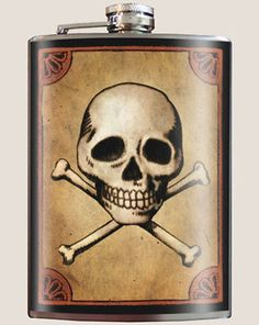 Art inspired stainless steel skull and cross bones hip flask @ The Pocket Hip Flask Company: Birthday Gifts For Best Friend, Best Friend Gifts, Best Gifts, Cool Flasks, Tattoo Clothing, Inked Shop, Skull And Crossbones, Skull And Bones, Custom Art