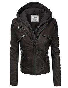 JJ Perfection Women's Twofer Faux Leather Hoodie Jacket w/ Pockets - http://www.darrenblogs.com/2017/03/jj-perfection-womens-twofer-faux-leather-hoodie-jacket-w-pockets/