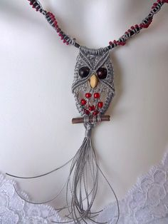 Macrame Owl Necklace in Silver and Red