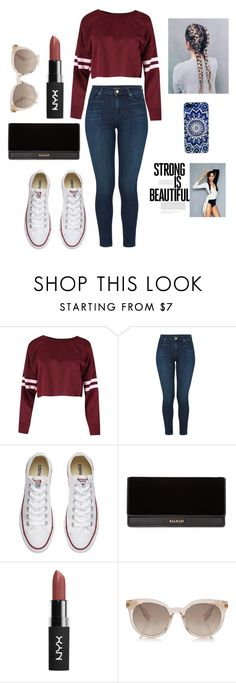 """Lovin' the maroon in this..."" by fashion-girl101-watermelon ❤ liked on Polyvore featuring J Brand, Converse and Balmain"