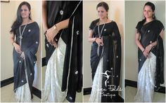 A Blend of Black n White....Soft n Smooth...A Touch of Beautiful Embroidery mixed with Pearls..  Nothing but Class n Style..!!! Find all this n more in our Lovely Half n Half Designer Saree with Black Crape Silk Pallu  and White with black designed Crape Silk. Made Picture Perfect with a White Designed Crape Silk Blouse.