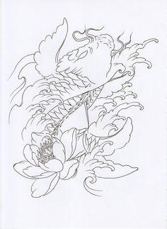 Koi Tattoo Sleeve, Oni Tattoo, Irezumi Tattoos, Japanese Tattoo Art, Japanese Tattoo Designs, Tattoo Designs Men, Koi Fish Drawing, Koi Fish Tattoo, Dragon Koi Tattoo Design