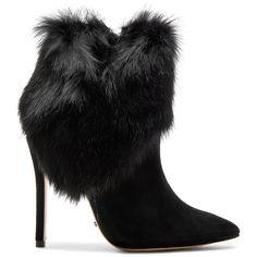 Schutz Henrietta Rabbit Fur Bootie found on Polyvore featuring shoes, boots, ankle booties, booties, ankle boots, high heels, bootie boots, leather sole boots, high heel booties and side zip ankle boots