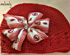 Arkansas Razorbacks Baby Girl Boutique Bow Crocheted Hat