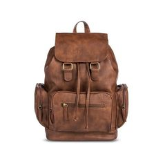 Women's Solid Backpack Handbag woth Zipper Pockets Brown ($30) ❤ liked on Polyvore featuring bags, backpacks, brown backpack, brown bag, knapsack bags, rucksack bag and backpacks bags