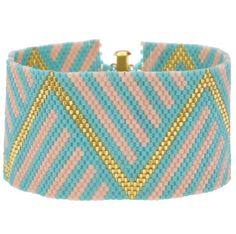 Peyote Bracelet, Beaded Bracelet, Geometrical Bracelet, Geometrical, Blue, Gold, Teal, Turqouise by StacyMichelleDesigns on Etsy