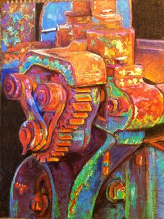 Rusty Machinery. Textural experiment in Pastel on Ingres Paper. Glyn Overton. June 2014. Adapted from a photo by E.J. At Gloucester Dock.