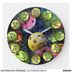 Cool Multicolor Pickleball Clock