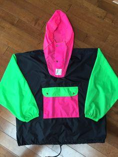 Vintage Neon Pullover Windbreaker 90's Retro Sportswear by BlankCityVintage on Etsy https://www.etsy.com/listing/275093678/vintage-neon-pullover-windbreaker-90s