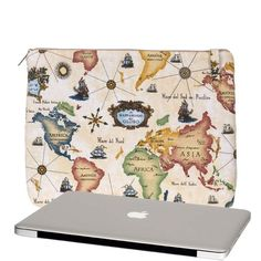 "READY TO SHIP - Laptop Bag, Padded Laptop Sleeve for 13"" MacBook Pro or Retina Display,  Laptop Case with Three Pockets, Map, In Stock. $42.99, via Etsy."