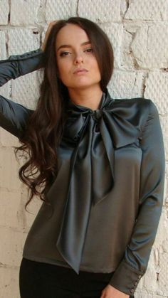 Sexy Blouse, Bow Blouse, Blouse And Skirt, Ruffle Blouse, Satin Blouses, Green Satin, One Piece Dress, Beautiful Blouses, Office Fashion