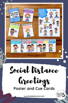 The SOCIAL DISTANCE GREETINGS edition highlights a variety of ways that students can greet friends and school staff from a distance. There is a poster featuring different greeting ideas in addition to visual cue cards that break down each of the greetings individually.