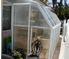 """Rion Green Giant Greenhouse - 6' 6"""" W x 24' 10 """" L    WHITE FRAME    Included Items:  1 Roof Vent, 1 Manual Vent Opener     Sale Price: $2299.00 Lean To Greenhouse Kits, Sunroom Kits, Polycarbonate Roof Panels, Patio Store, Rion, Roof Vents, Single Doors, Sustainable Living, Permaculture"""