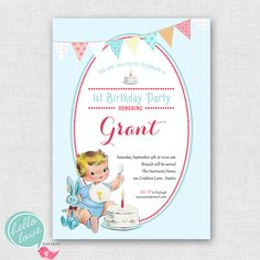 Vintage Baby's First Birthday printable invitation