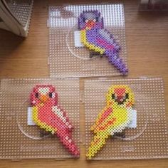 DIY keychain made of iron beads: simple gift idea - Birds hama perler beads by Luna de Feuth by paige - Pony Bead Patterns, Pearler Bead Patterns, Perler Patterns, Beading Patterns, Perler Beads, Perler Bead Art, Fuse Beads, Perler Bead Designs, Hama Beads Design