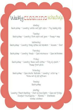 Homemaker - weekly cleaning schedule