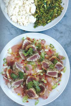 Seared Asian Tuna, Coconut Rice and Jiggy Jiggy Greens. 400g tin coconut milk +300g basmati rice +1 lime // 450g piece of yellowfin tuna steak +2xgreen tea bags +1 tbsp sesame seeds (mixed) +Olive oil Pickled ginger + 2 spring onions +1 fresh red chilli +juice of 1 grapefruit +soy sauce +½ bunch fresh coriander // Greens 2 bok choi +1 large bunch of asparagus +200g tenderstem broccoli +2 tsp sesame oil +3 cloves garlic +1 tbsp teriyaki sauce