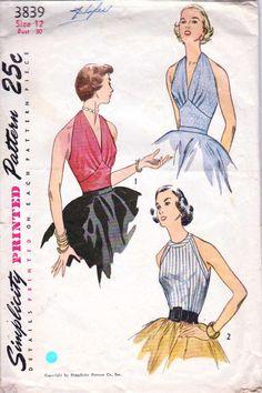 Vintage 50's Halter Top Deep V Neck or High Neck  by retromonkeys, $35.00 @Laura Hodo