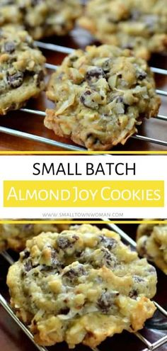 These Small Batch Almond Joy Cookies are the perfect easy holiday or Thanksgiving dessert for a crowd! It has the perfect blend of coconut, semi-sweet chocolate and sliced almonds that can be baked an Desserts For A Crowd, Food For A Crowd, Easy Desserts, Delicious Desserts, Coconut Desserts, Thanksgiving Desserts, Christmas Desserts, Christmas Baking, Christmas Recipes