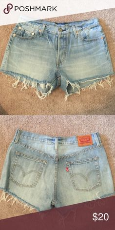 Levi's high waist cut off shorts - Size 8 Cute cut off shorts with high waist fit Levi's Shorts Jean Shorts