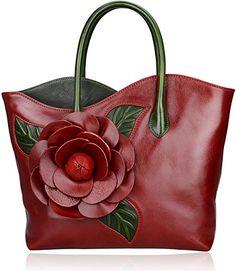 Pijushi Floral Shoulder Handbags Ladies Designer Handmade Flower Leather Tote Bag Holiday Gift 8825 (Red): Handbags: Amazon.com