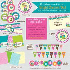 Polka Dot Chevron Owl Birthday Party  by inkberrycards on Etsy