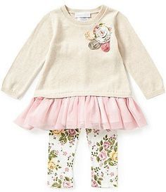 Bonnie Baby Baby Girls Newborn-24 Months Drop Waist Dress & Floral Leggings Set