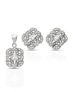 MCS Jewelry Sterling Silver Four Leaf Design Cubic Zirconia Earring and Pendant Set ** You can get additional details at the image link. Four Leaves, Cubic Zirconia Earrings, Pendant Set, Leaf Design, Sterling Silver Jewelry, Jewelry Sets, Image Link, Engagement Rings, Detail
