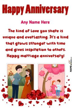 Lovely Double Frame Anniversary Wishes With Name Edit Online. Cute Anniversary wishes with name and photo frames for lovely and cute couples. This is the double frame anniversary wish with a cute and beautiful quote written on it. Happy Anniversary Photos, Anniversary Wishes For Couple, Happy Marriage Anniversary, Anniversary Greetings, Romantic Anniversary, Pink Backdrop, Balloon Backdrop, Balloons, Aniversary Wishes